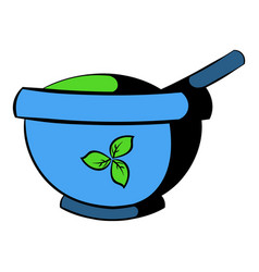 blue mortar and pestle icon icon cartoon vector image