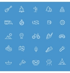 Camping nature and outdoor activities icons vector