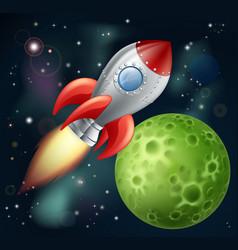 cartoon rocket in space vector image