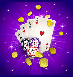 casino banner with tokens coins playing cards vector image