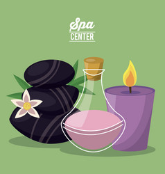 Color poster of spa center with set of black rocks vector