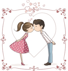 Couple Kissing Cartoon vector image vector image