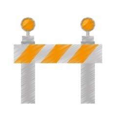 Drawing road barrier stop warning light vector