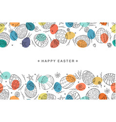 Easter egg seamless composition in doodle style vector