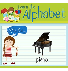 Flashcard letter p is for piano vector