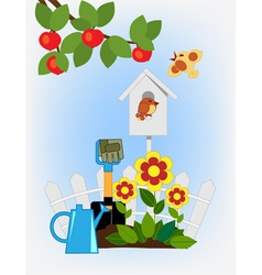 flower beds in the garden and birdhouse vector image