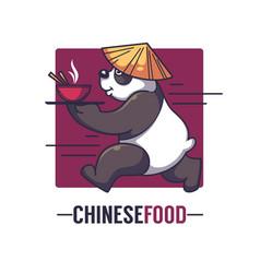 Funny cartoon panda takes an bowl full of asian vector