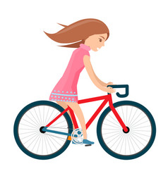 girl in summer clothes rides bike isolated on vector image