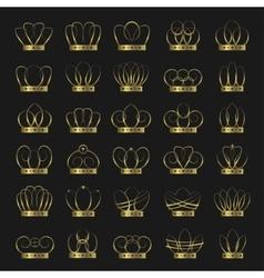 Golden crown set vector