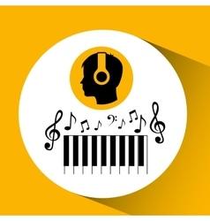 Head silhouette listening music piano vector