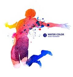 Jump man watercolor vector