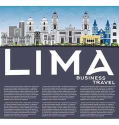 Lima Skyline with Gray Buildings Blue Sky vector image vector image
