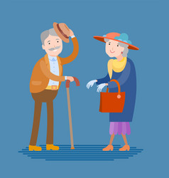 meeting of two elderly people vector image