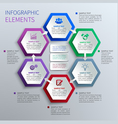 Paper hexagons infographics vector
