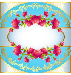 Round frame background with flowering vector