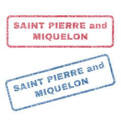Saint pierre and miquelon textile stamps vector