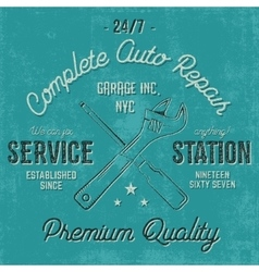 Service station vintage label tee design graphics vector