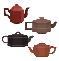 set of brewing clay chinese teapots vector image
