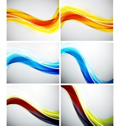 Set of color wave backgrounds vector image vector image
