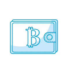 Silhouette bitcoin symbon in the wallet to save vector