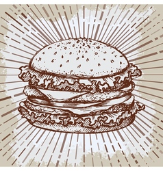 Sketch hamburger or burger logo design template vector image