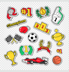 Sports success trophy winner stickers set vector