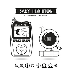 Stock of baby monitor and icons vector