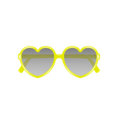 sun glasses in shape of heart in yellow design vector image vector image