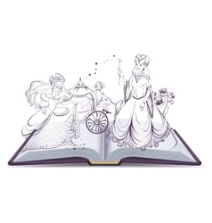 Tale of Cinderella Open book fantasy tale Fairy vector image