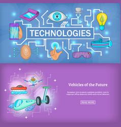 technology banner set template cartoon style vector image