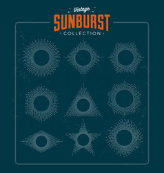 vintage styled sunburst set collection vector image