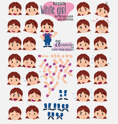 White girl in jeans twenty eight expressions and vector