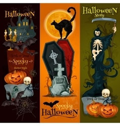 Halloween spooky party decoration banners vector image