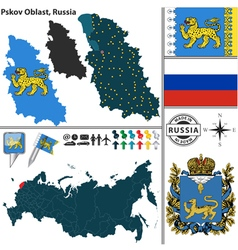 Map of Oblast of Pskov vector image