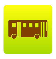 bus simple sign  brown icon at green vector image
