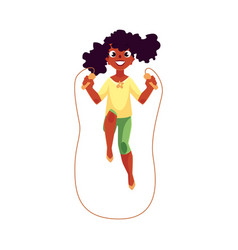 Teenage caucasian girl playing with jumping rope vector