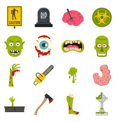 Zombie icons set in flat style vector