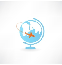 Globe and airplane icon vector