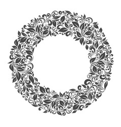 Round frame of patterns and leaves vector