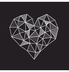 Abstract geometric low poly line heart vector