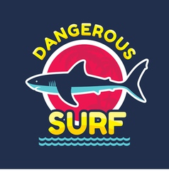 Shark - dangerous surf - logo badge vector