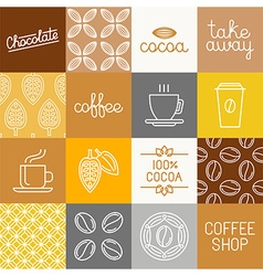 Chocolate cocoa and coffee icons vector