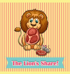 Old saying lion share vector