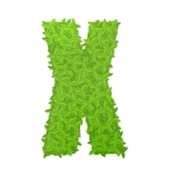 Uppecase letter x consisting of green leaves vector