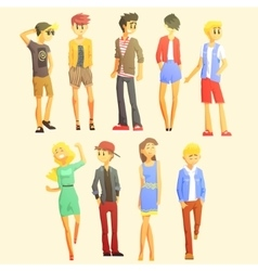 Young stylishly dressed people vector