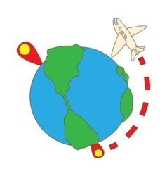 Travelling by plane around the world icon vector