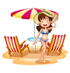 A girl in front of the umbrella with chairs vector image vector image