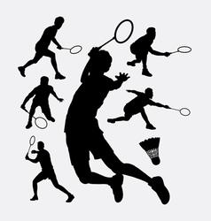 Badminton sport tournament silhouette vector image vector image