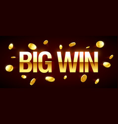 big win gambling games banner with big win vector image