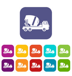Concrete mixer truck icons set vector